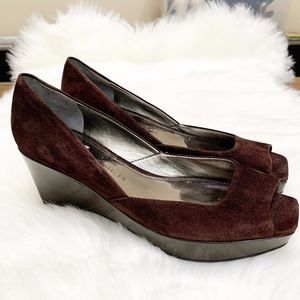 Marc Fisher Brown Suede Open Toe Wedge 7 1/2 M